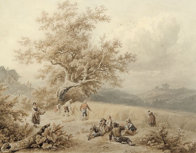 Koekkoek B.C.  | Harvest time, Luxemburg, ink and watercolour on paper 19.6 x 24.9 cm, signed l.c. and dated 1847