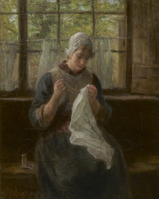 Jozef Israëls | A woman knitting, oil on canvas, 56.6 x 45.3 cm, signed l.l.