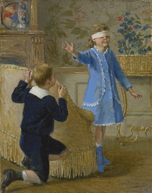 Albert Roosenboom | Playing Hide and Seek, oil on canvas, 24.4 x 19.3 cm, signed l.r.