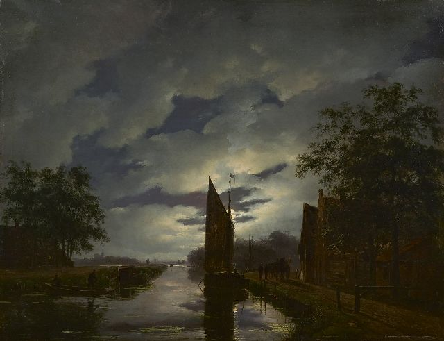 Andreas Schelfhout | A moonlit river landscape, oil on panel, 38.2 x 49.3 cm, signed l.r. and painted ca. 1822