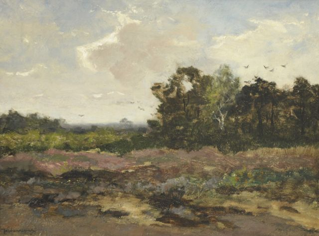 Johan Frederik Cornelis Scherrewitz | Heathland, oil on panel, 32.0 x 42.5 cm, signed l.l.
