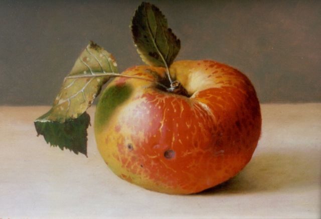 Bubarnik G.  | Apple, oil on panel 12.8 x 17.8 cm, signed l.l.