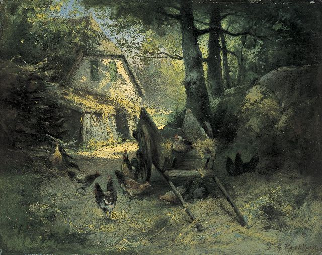 Marinus Adrianus Koekkoek II | Poultry on a yard, oil on panel, 31.9 x 40.0 cm, signed l.r.