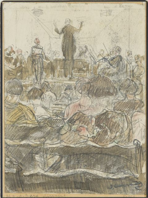 Ko Cossaar | The conductor H. v.d. Berg leading a orchestra, drawing on paper, 15.5 x 11.5 cm, signed l.r.