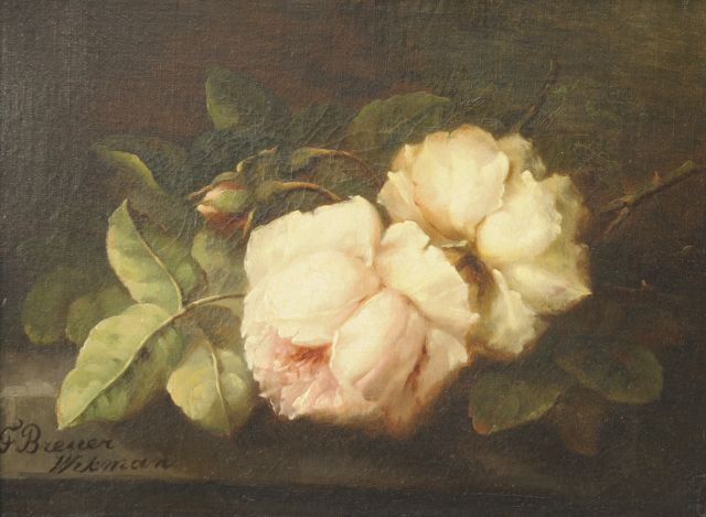 Breuer-Wikman F.  | Pink roses on a stone ledge, oil on canvas 27.3 x 36.5 cm, signed l.l.