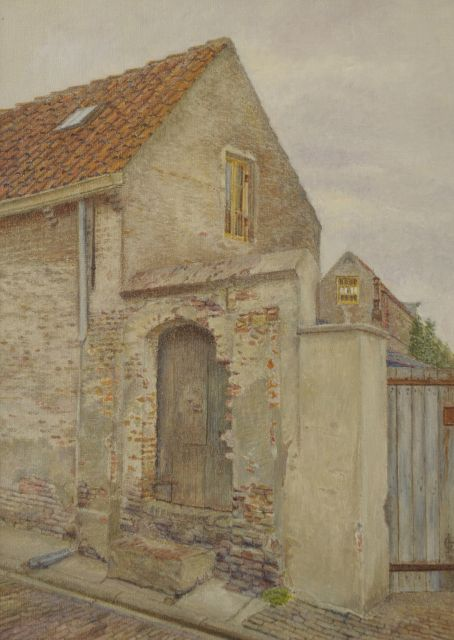 Hettinga Tromp T.G.M. van | Old houses, Zaltbommel, oil on canvas 40.5 x 29.6 cm, signed l.r. with monogram and dated 1949
