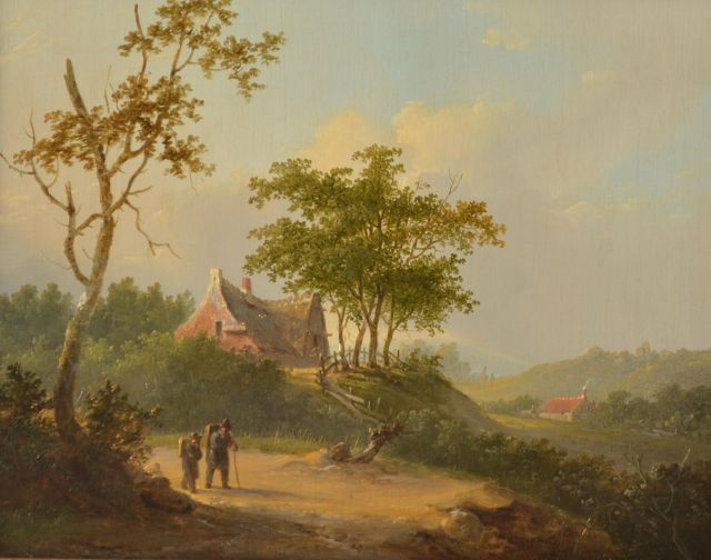 Stok J. van der | Travellers in an extensive summer landscape, oil on panel 25.7 x 32.6 cm