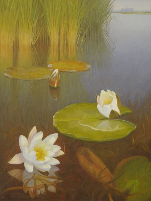 Dirk Smorenberg | The Loosdrechtse Plassen with water lilies, oil on canvas, 50.5 x 39.0 cm, signed l.r.