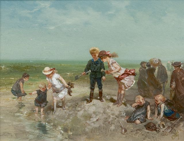 Charles Rochussen | Children playing on the beach, oil on panel, 16.0 x 20.8 cm, signed l.r. with initials and painted ca. 1881