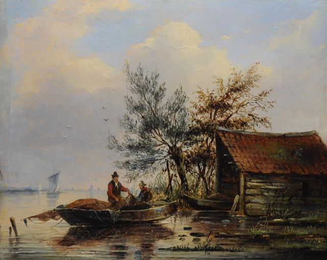 George Henry Hendriks | Fishermen in a rowing boat at dawn, oil on panel, 16.2 x 20.1 cm, signed l.r. with monogram 'H.H.'
