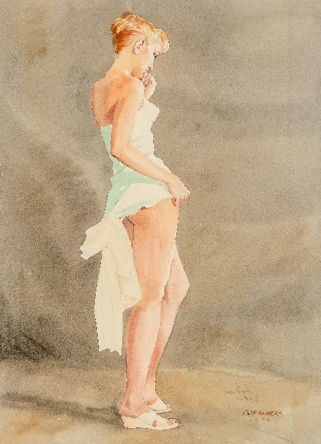 Flip Hamers | Pin-up girl, pencil and watercolour on paper, 51.3 x 38.3 cm, signed l.r. and dated 1956