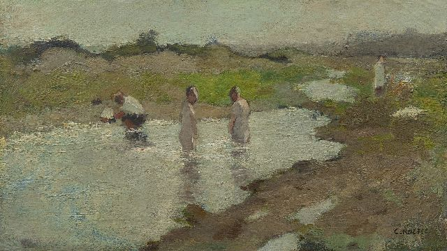 Cor Noltee | A dune lake in summer, oil on canvas laid down on panel, 20.7 x 35.3 cm, signed l.r.