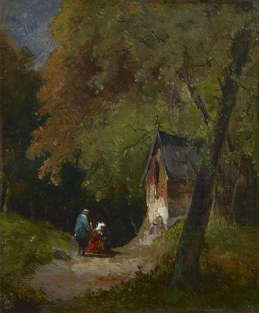 Frans Breuhaus de Groot | A wooded landscape with travellers by a chapel, oil on panel, 11.5 x 9.7 cm, signed l.l. with initials