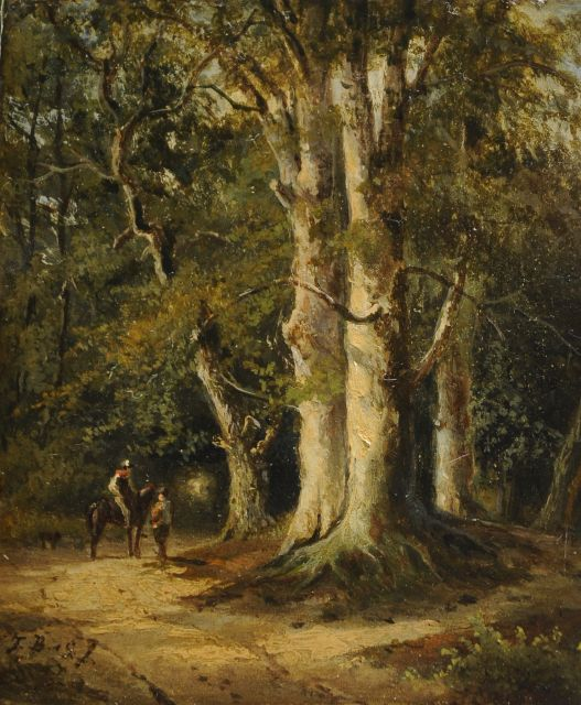 Frans Breuhaus de Groot | Travellers on a wooded path, oil on panel, 12.2 x 10.3 cm, signed l.l. with initials