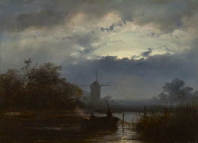 Johannes Franciscus Hoppenbrouwers | A moonlit river landscape with fishermen, oil on panel, 18.8 x 26.4 cm, signed l.l. with initials