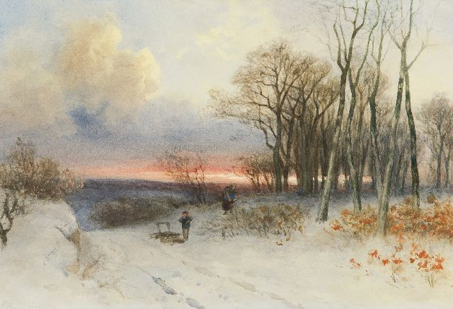 Piet Schipperus | Wood gatherers in a snowy landscape, watercolour on paper, 40.0 x 50.0 cm, signed l.l.