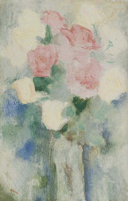 Toon Kelder | Still life with roses, oil on board, 52.1 x 33.2 cm, signed l.l.