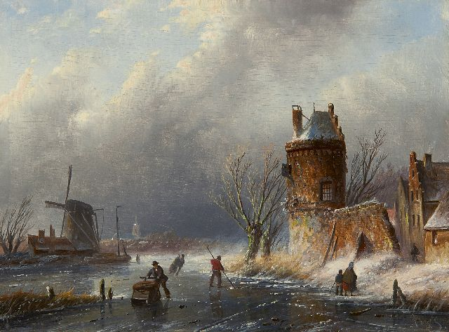 Jacob Jan Coenraad Spohler | A winter landscape with skaters, oil on panel, 15.6 x 21.1 cm, signed l.r. with initials