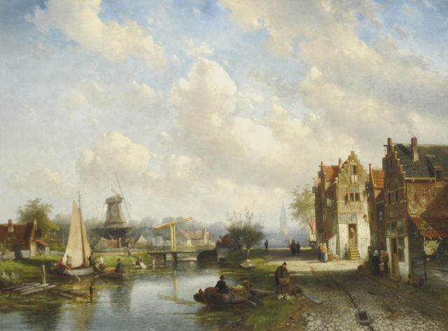 Leickert C.H.J.  | A Dutch river view with the Nieuwe Kerk of Delft in the distance, oil on canvas, 78.0 x 103.4 cm, signed l.r. and dated '72