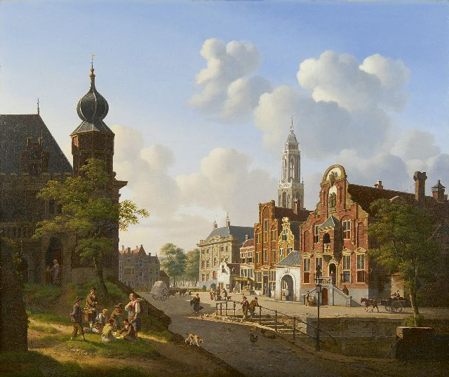 Jan Hendrik Verheijen | A sunny town square with gamblers in the front, oil on canvas, 66.9 x 79.6 cm, signed l.r.