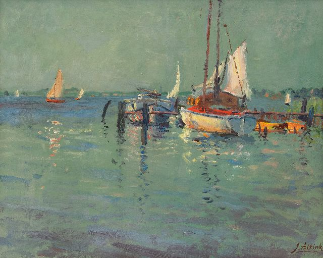 Altink J.  | Moored ships on the Paterswolde lake, oil on canvas 40.4 x 50.3 cm, signed l.r.