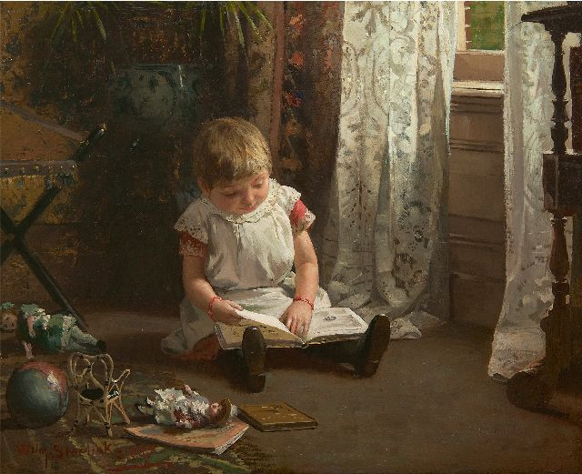 Willem Steelink jr. | The picture book, oil on canvas, 37.8 x 47.3 cm, signed l.l. and dated 1887