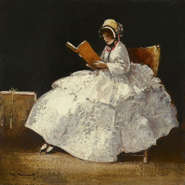 Walter Heimig | A girl reading, wearing a bonnet, oil on panel, 30.1 x 30.2 cm, signed l.l.