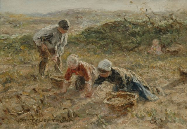 Jan Zoetelief Tromp | Digging up potatoes in the dunes near Katwijk, oil on canvas, 25.5 x 35.3 cm, signed l.l.