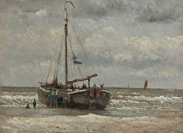 Hendrik Willem Mesdag | Fisher men with fishing boat on the beach, oil on paper, 20.8 x 28.2 cm, painted ca. 1868