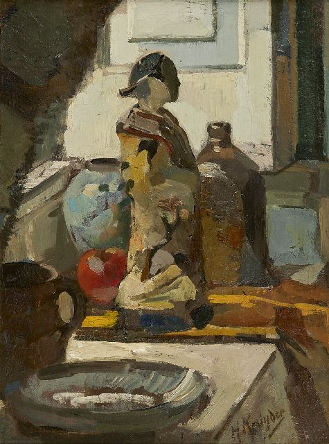 Herman Kruyder | A still life with a Satsuma statue, oil on panel, 50.0 x 38.5 cm, signed l.r. and painted before 1916