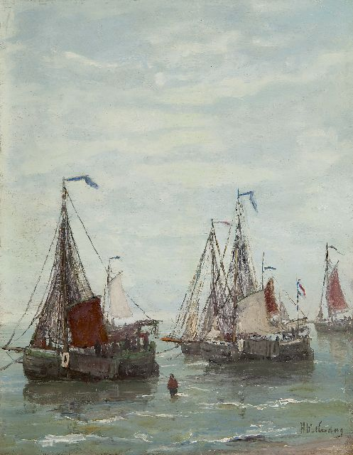 Hendrik Willem Mesdag | Fishing boats anchored off the beach, oil on panel, 32.2 x 25.2 cm, signed l.r. and painted ca. 1885
