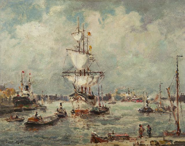 Evert Moll | A three-master in the Rotterdam harbour, oil on painter's board, 24.0 x 30.5 cm, signed l.l.
