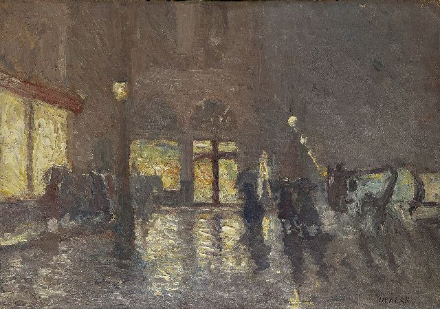 Niekerk M.J.  | Evening in Brussels, oil on canvas 39.2 x 55.4 cm, signed l.r.