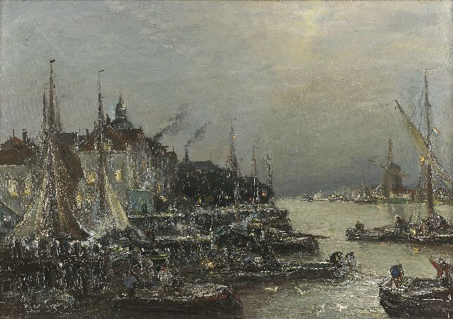 Louis Apol | The harbour of Dordrecht with the 'Groothoofd', oil on canvas, 56.6 x 80.6 cm, signed l.l.