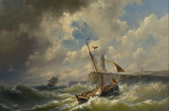 Hermanus Koekkoek jr. | Entering the harbour in a storm, oil on canvas, 84.6 x 128.8 cm, signed l.r. and dated 1860