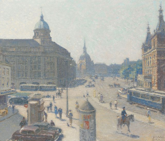 Anthonie Pieter Schotel | The Leidseplein, Amsterdam, seen from 'Extase', oil on canvas, 60.2 x 70.5 cm, signed l.r.
