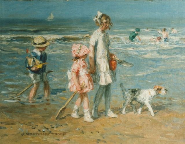 Jan Zoetelief Tromp | Walking along the beach, oil on canvas, 37.5 x 50.0 cm, signed l.l.
