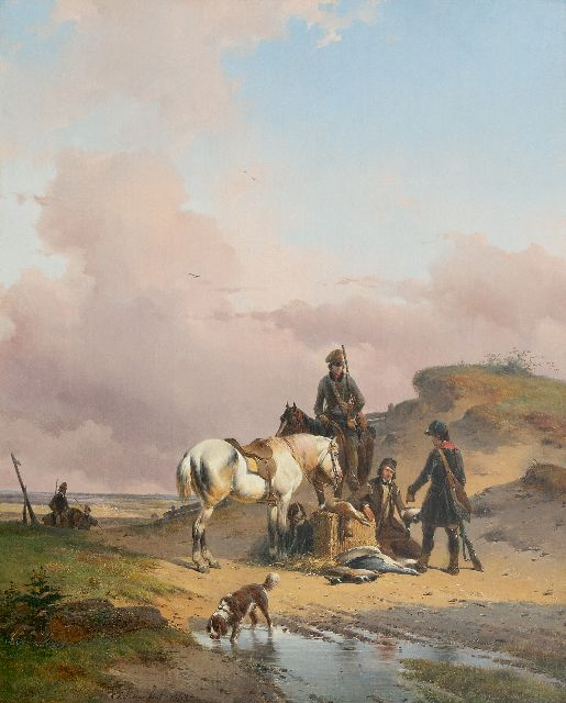 Josephus Jodocus Moerenhout | After the hunt, oil on canvas, 65.8 x 53.3 cm, signed left of the centre and dated 1840