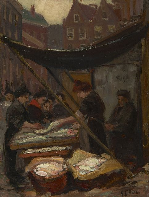 Gerard Johan Staller | Fish seller on Uilenburg, Amsterdam, oil on canvas laid down on board, 15.7 x 12.2 cm, signed l.r.