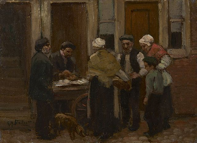 Gerard Johan Staller | At the herring stall, oil on canvas laid down on board, 12.2 x 15.7 cm, signed l.l.