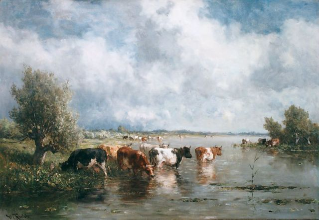 Roelofs W.  | Cows watering, oil on canvas, 70.0 x 101.0 cm, signed l.l.