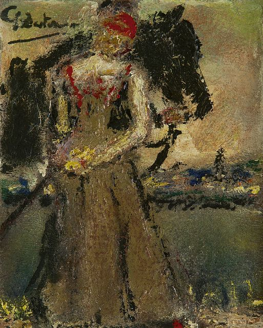Gerard Westermann | Woman with a horse, oil on panel, 18.1 x 14.9 cm, signed u.l.