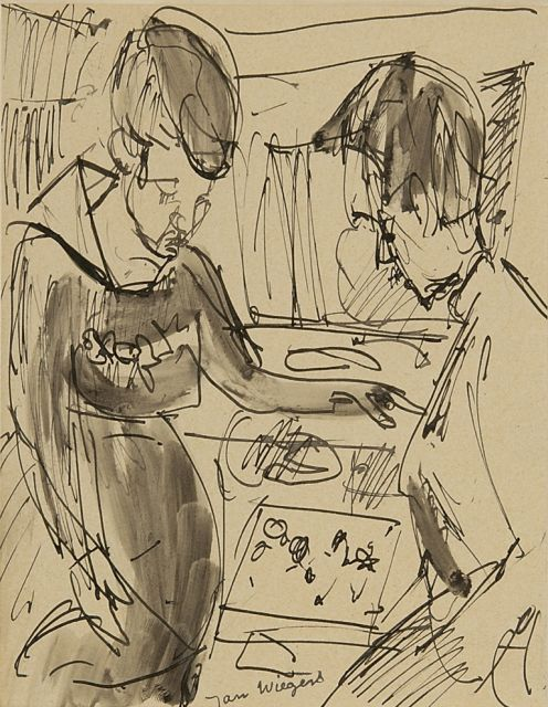 Wiegers J.  | At the jewelry shop, pen, brush and ink on paper 21.6 x 17.5 cm, signed l.c. and on the reverse