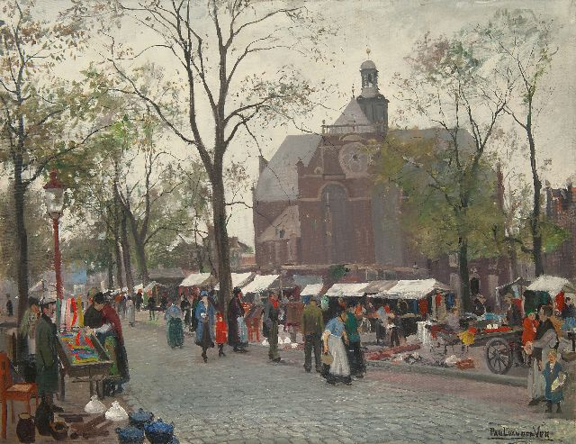 Paul van der Ven | Marketday on the Noordermarkt, Amsterdam, oil on canvas, 84.4 x 109.8 cm, signed l.r. and on the stretcher