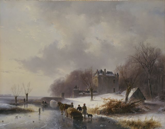 Andreas Schelfhout | A winter landscape with castle 'Doornenburg'  in the distance, oil on panel, 41.6 x 53.9 cm, signed l.r.