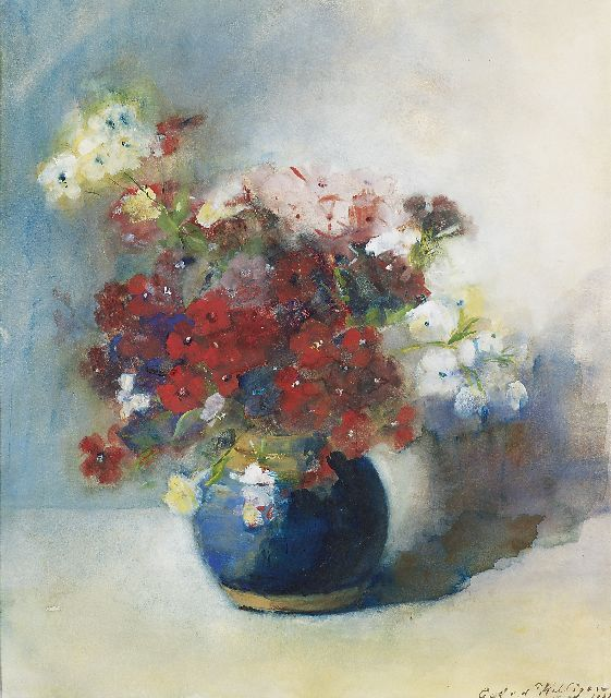 Willigen C.A. van der | Flowers in blue vase, watercolour on paper 42.0 x 37.5 cm, signed l.r. and dated 1902