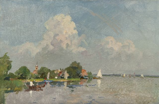 Cornelis Vreedenburgh | Sailing boats on the Loosdrechtse Plassen, oil on canvas, 39.7 x 59.2 cm, signed l.r.