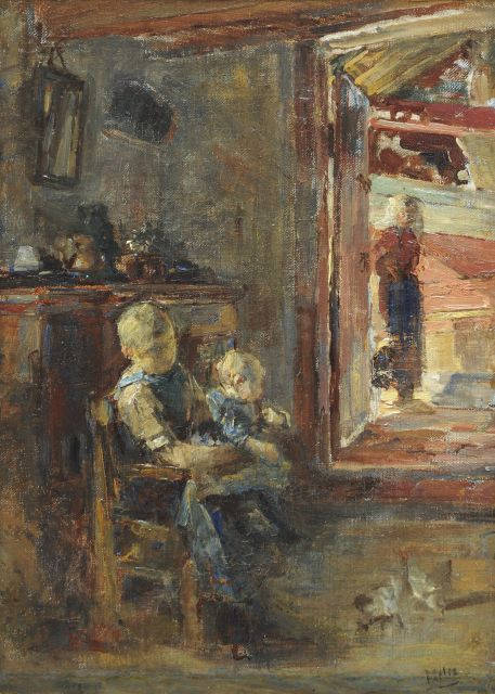 Henricus Joannes Mélis | Interior with woman and children, Zeeland, oil on canvas, 52.5 x 37.3 cm, signed l.r.