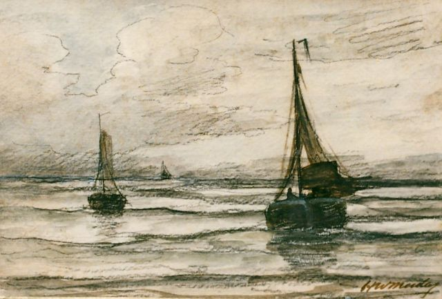 Hendrik Willem Mesdag | 'Bomschuiten' in the surf, pencil and watercolour on paper, 13.5 x 19.5 cm, signed l.r.