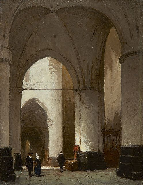 Johannes Bosboom | A church interior, oil on panel, 19.2 x 15.0 cm, signed l.r.
